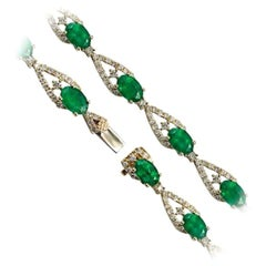 Magnificent Green Emerald Diamond Fine Jewellery Yellow Gold Tennis Bracelet