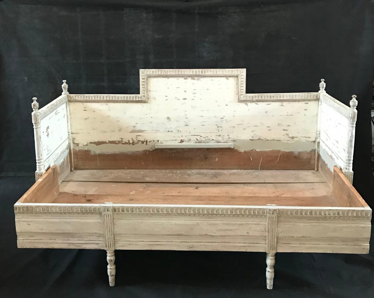 Swedish Magnificent Gustavian Carved Wood and Upholstered Settee Sofa For Sale
