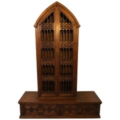 Magnificent Hand Carved Mahogany Gothic Style Bookshelf Cabinet