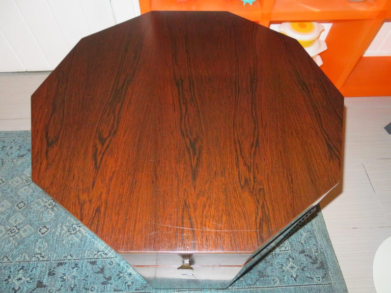 Magnificent Harvey Probber rosewood decagon bar lamp table. This piece is in wonderful vintage condition-possibly the nicest one we have ever seen in original condition. The rosewood is deep dark and richly grained-a true modern treasure!