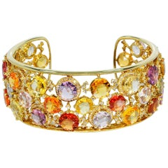 Magnificent Heat Only Multi-Color Sapphire and Diamond Bangle 18 Karat Gold