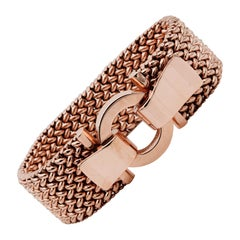 Magnificent Heavy Chunky 1930 Woven Strap 18 Karat Rose Gold Buckle Bracelet