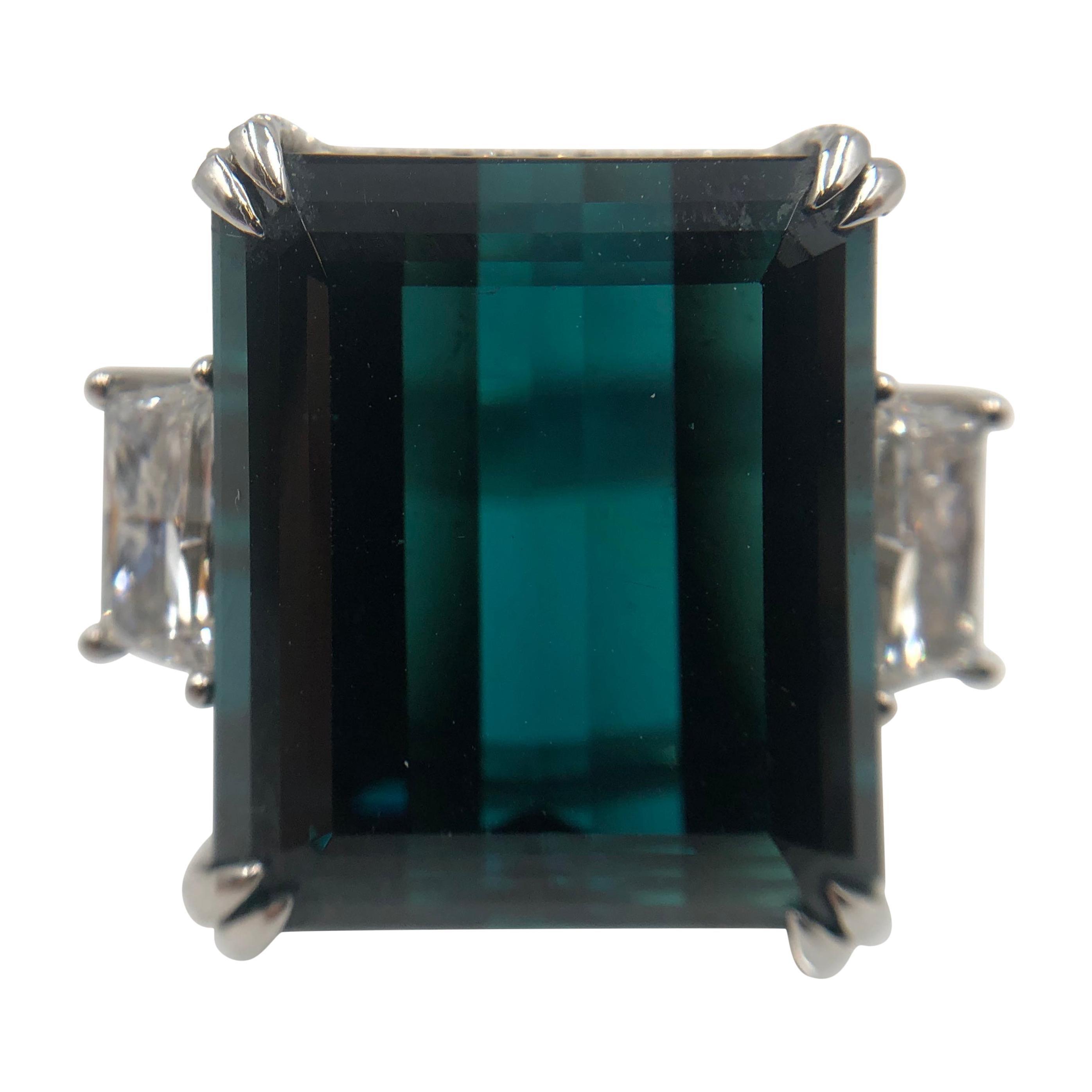 Magnificent Indicolite Tourmaline and Diamond Platinum Ring