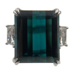 Magnificent Indicolite Tourmaline and Diamond Platinum Ring