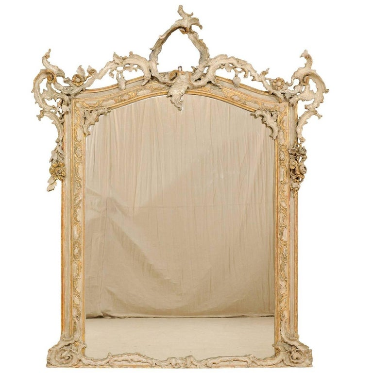 Magnificent Italian 19th Century Grand Scale Baroque Style Carved Wood Mirror