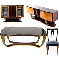Magnificent Italian Art Deco Dining Set by Pier Luigi Colli, 1930s