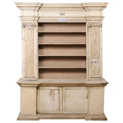 Magnificent Italian Cabinet with Roman Ionic Columns and Original Paint