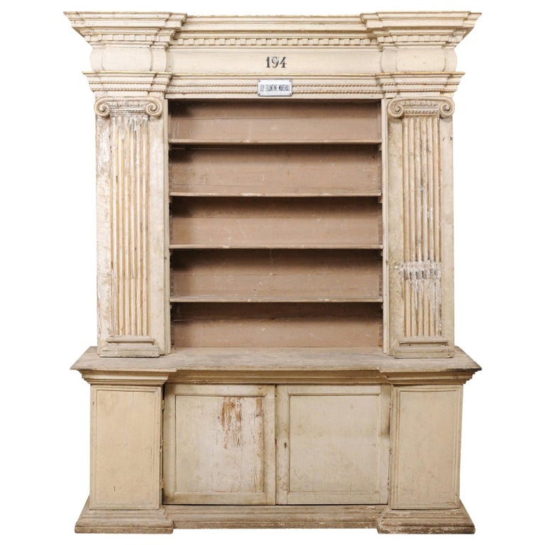 Magnificent Italian Cabinet with Roman Ionic Columns and Original Paint For Sale