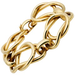 Magnificent Italian Fancy Link 18 Karat Gold Heavy Vintage Bracelet