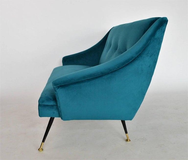 Mid-Century Modern Italian Mid-century Sofa Reupholstered with Petrol Velvet, 1950s For Sale