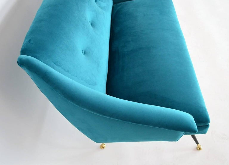 Mid-20th Century Italian Mid-century Sofa Reupholstered with Petrol Velvet, 1950s For Sale