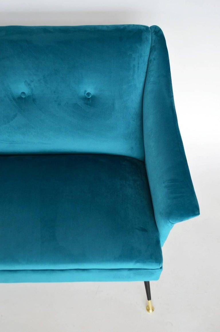 Brass Italian Mid-century Sofa Reupholstered with Petrol Velvet, 1950s For Sale