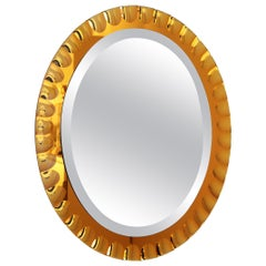 Magnificent Italian Midcentury Wall Mirror in Golden Yellow Color, 1950s