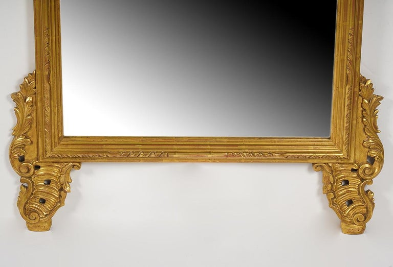 Rococo Revival Magnificent Italian Rococo Style Carved Giltwood Wall Mirror by Palladio, Italy For Sale