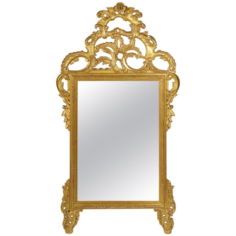 Magnificent Italian Rococo Style Carved Giltwood Wall Mirror by Palladio, Italy For Sale