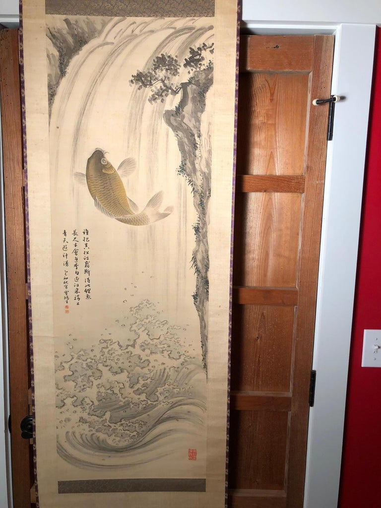 Magnificent Koi Fish Japanese Antique Hand-Painted Silk Scroll, Meiji Period In Good Condition For Sale In Shelburne, VT
