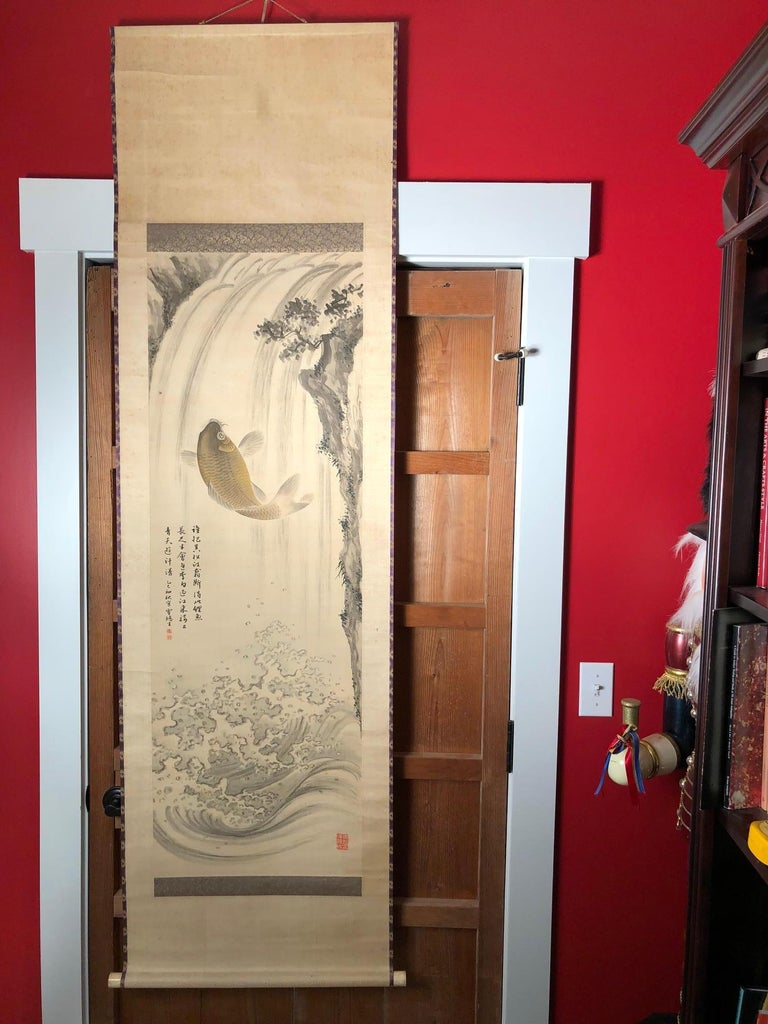 19th Century Magnificent Koi Fish Japanese Antique Hand-Painted Silk Scroll, Meiji Period For Sale