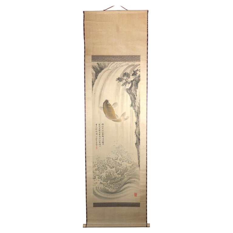 Magnificent Koi Fish Japanese Antique Hand-Painted Silk Scroll, Meiji Period For Sale