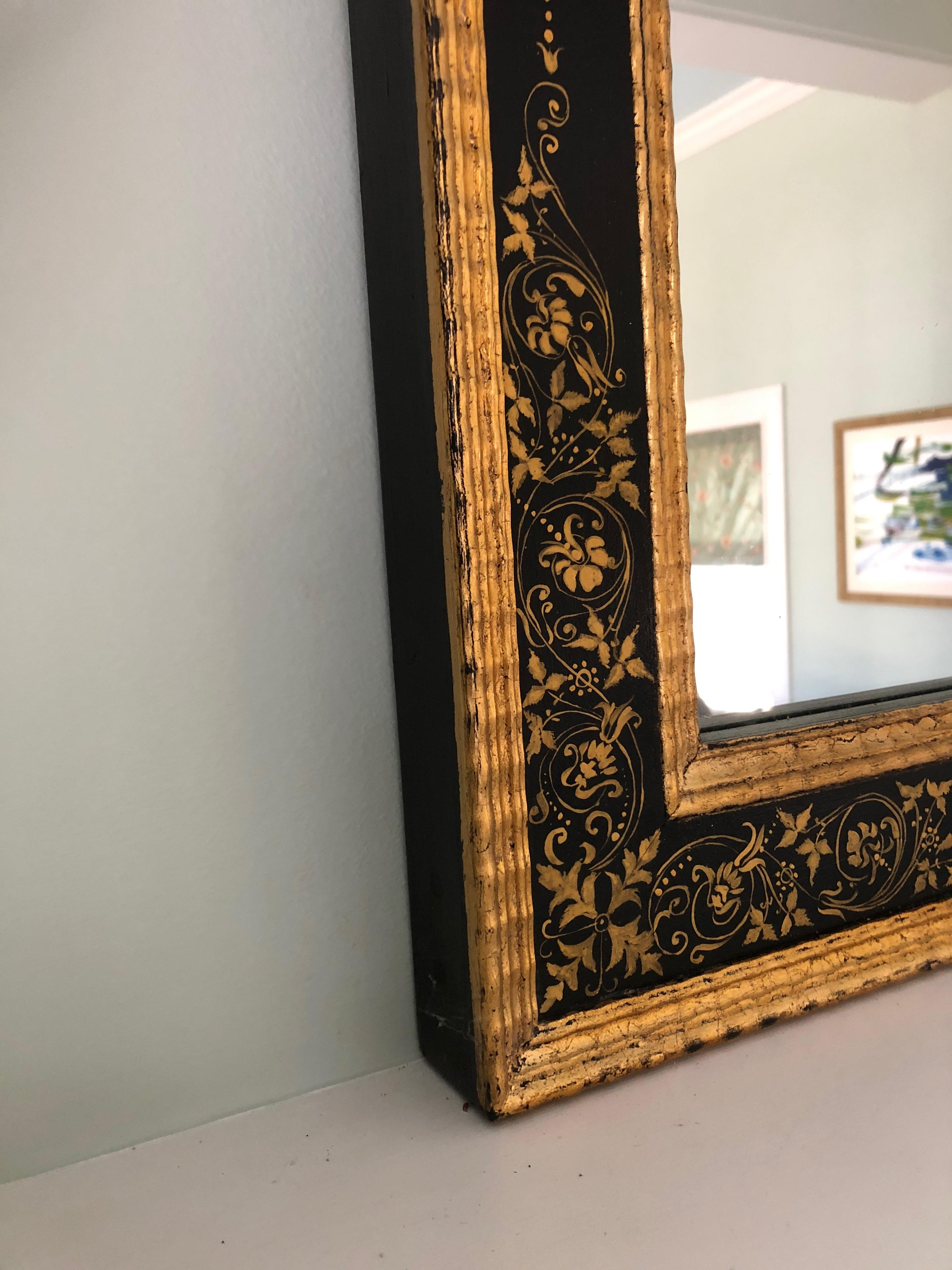 Magnificent Large Black And Gold Regency Style Mirror For Sale At 1stdibs