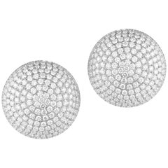 Magnificent Large Diamond Button Earrings in 18 Karat White Gold