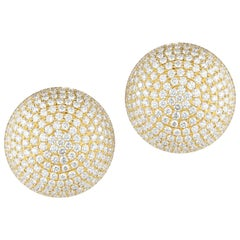 Magnificent Large Diamond Button Earrings in 18 Karat Yellow Gold