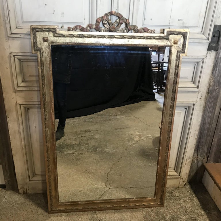Louis XV Magnificent Large French Antique Giltwood Mirror with Ribbon Bow For Sale