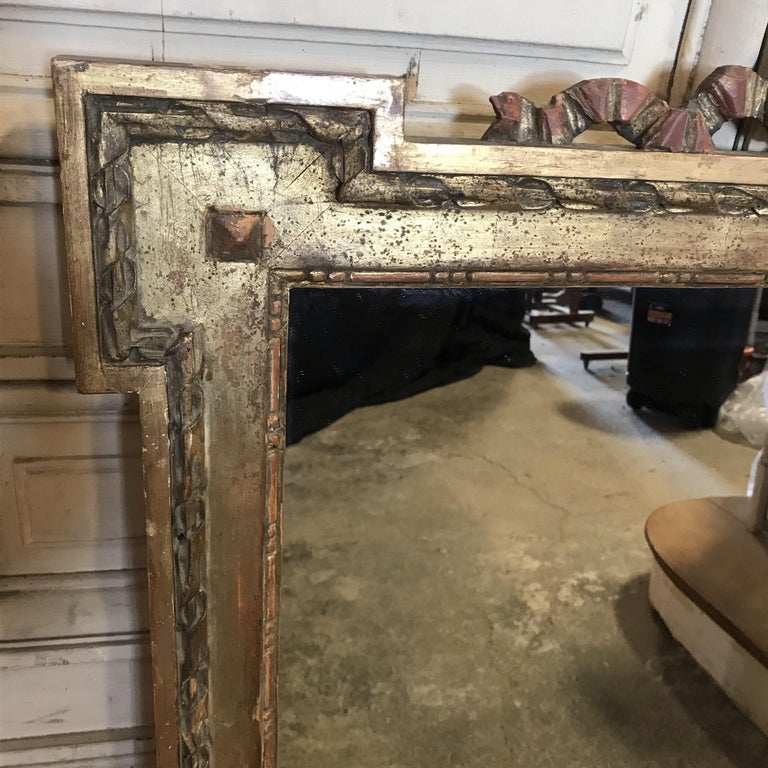 Magnificent Large French Antique Giltwood Mirror with Ribbon Bow In Good Condition For Sale In Hopewell, NJ