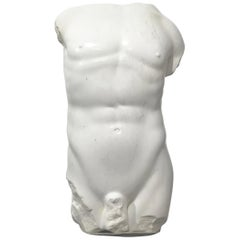 Magnificent Large Hand Carved Marble Nude Male Torso