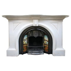 Magnificent Large Mid-Victorian Statuary White Marble Fireplace Surround