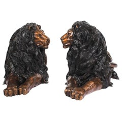 Magnificent Large Pair of Cast Bronze Lions 20th Century