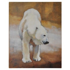 """Magnificent Large Scale """"Polar Bear"""" Original Oil Painting by Ute Simon"""