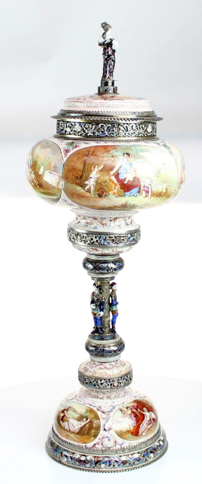 Magnificent large silver and Viennese enamel cup and cover by Hermann Bohm, Vienna, circa 1880