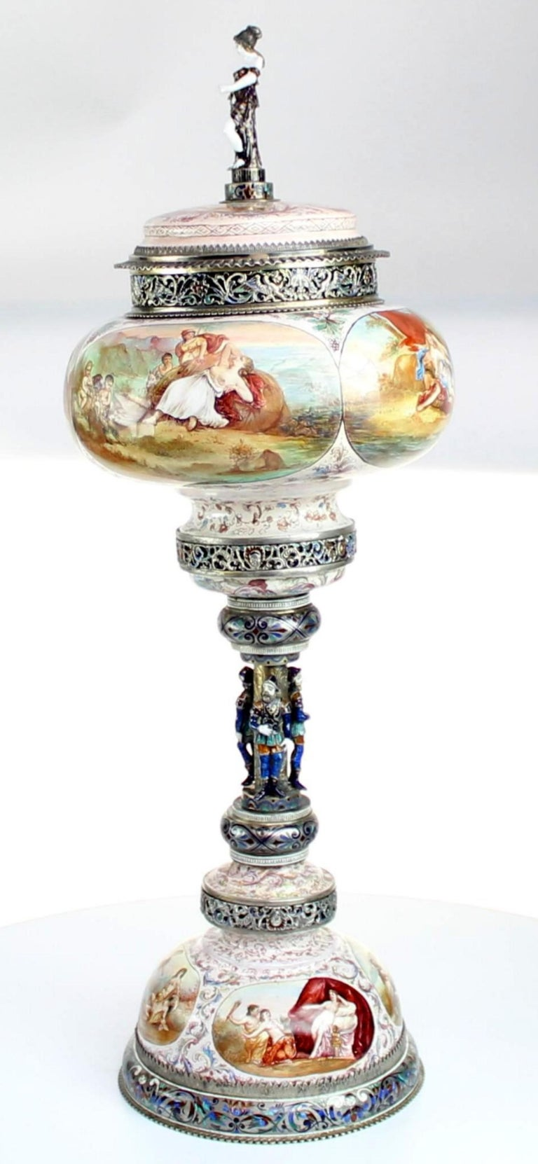 Magnificent Large Silver and Viennese Enamel Cup and Cover by Hermann Bohm, 1880 In Good Condition For Sale In New York, NY
