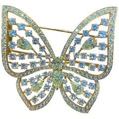 Large Size Fancy Diamond Butterfly Brooch by Van Cleef and Arpels