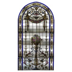 Magnificent Late 19th Century French Leaded Glass Vitraux Window