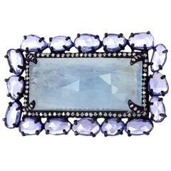 Magnificent Slice Sapphire and Aquamarine Ring