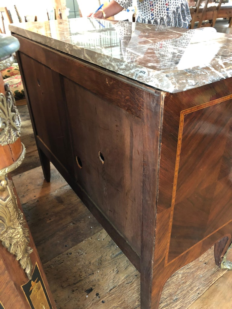 Magnificent Mahogany and Marble Credenza with Gorgeous Bronze Adornments For Sale 7