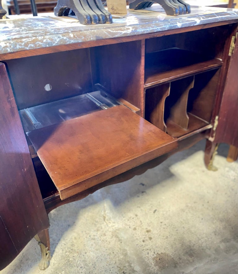 Magnificent Mahogany and Marble Credenza with Gorgeous Bronze Adornments For Sale 8