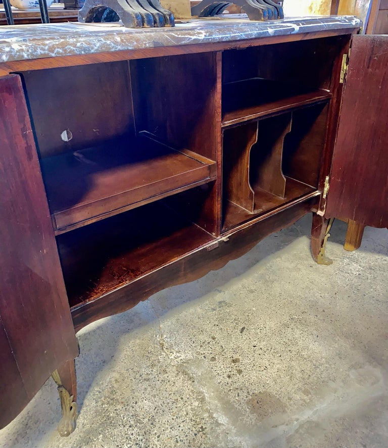 Magnificent Mahogany and Marble Credenza with Gorgeous Bronze Adornments For Sale 9