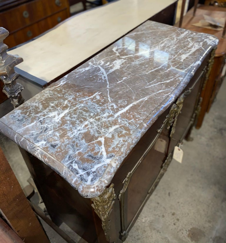Magnificent Mahogany and Marble Credenza with Gorgeous Bronze Adornments For Sale 12