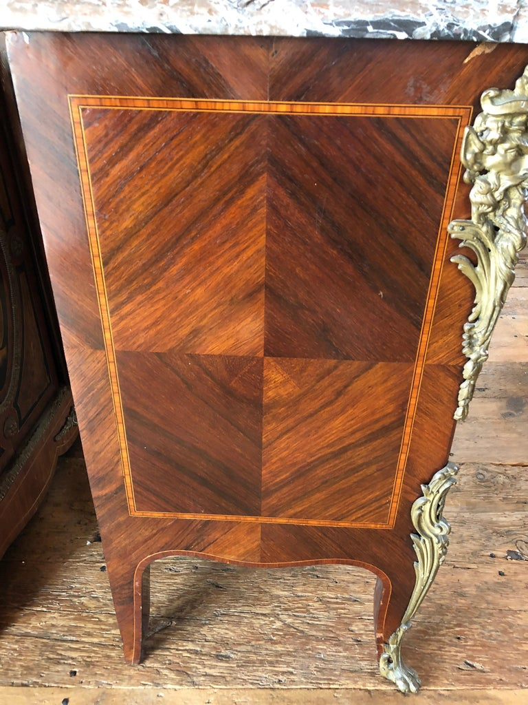 French Magnificent Mahogany and Marble Credenza with Gorgeous Bronze Adornments For Sale