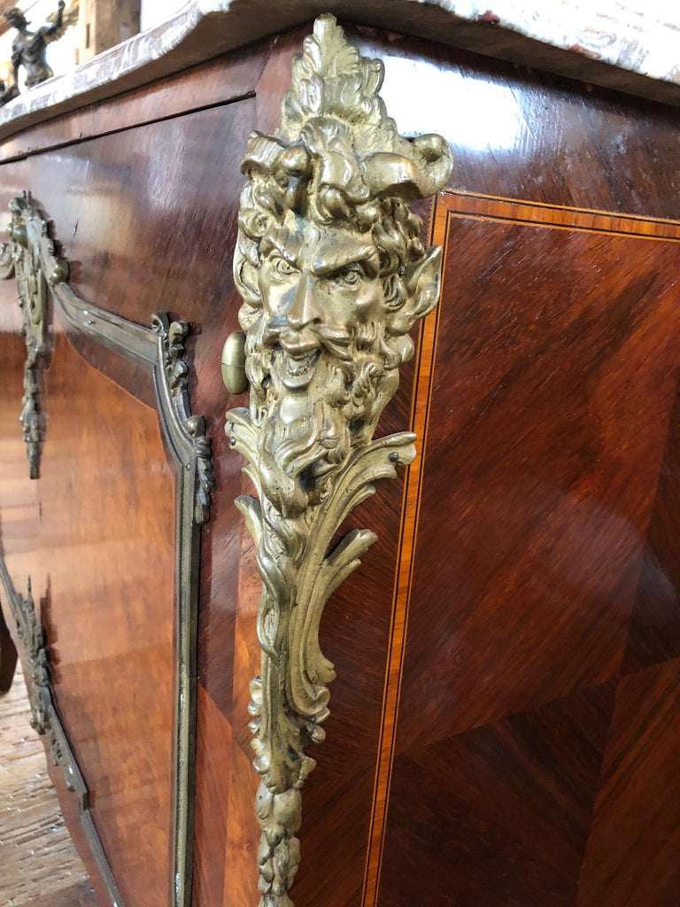 20th Century Magnificent Mahogany and Marble Credenza with Gorgeous Bronze Adornments For Sale