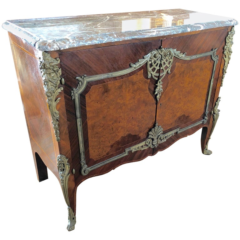 Magnificent Mahogany and Marble Credenza with Gorgeous Bronze Adornments For Sale