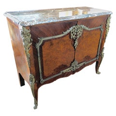Magnificent Mahogany and Marble Credenza with Gorgeous Bronze Adornments