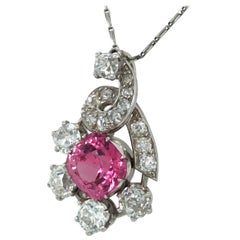 Magnificent Mauboussin Spinel and Diamond Pendant in Platinum 950