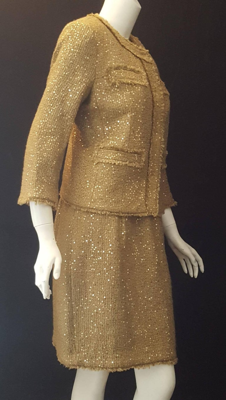 Brown Magnificent Michael Kors Tweed  Two Piece Dress Suit Rose Gold Tone Sequin  For Sale