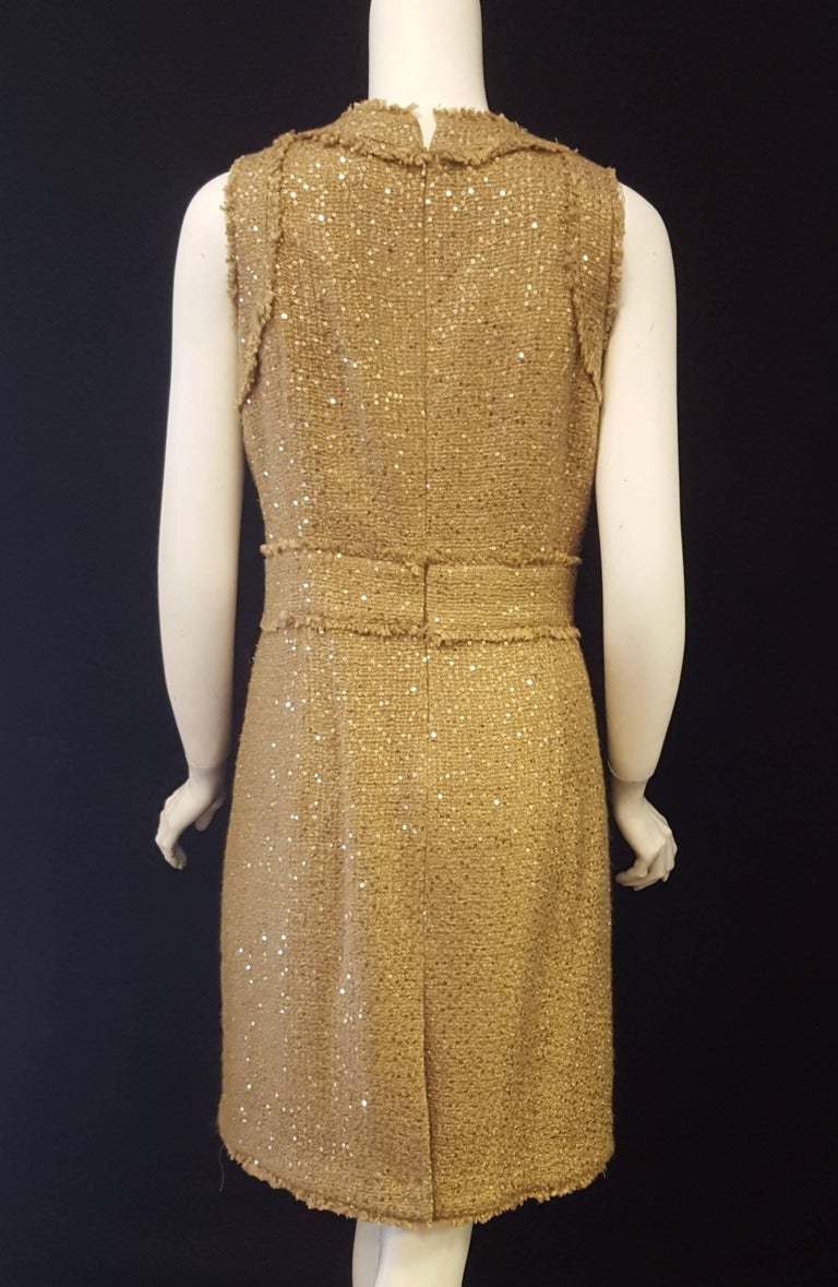 Magnificent Michael Kors Tweed  Two Piece Dress Suit Rose Gold Tone Sequin  For Sale 1