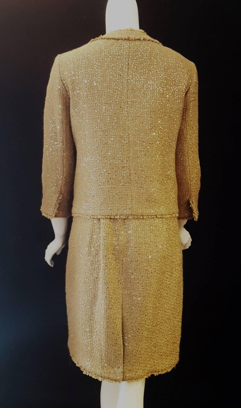 Magnificent Michael Kors Tweed  Two Piece Dress Suit Rose Gold Tone Sequin  For Sale 2