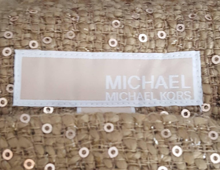 Magnificent Michael Kors Tweed  Two Piece Dress Suit Rose Gold Tone Sequin  For Sale 3