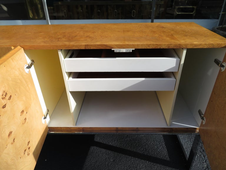 Magnificent Milo Baughman Burled Olive Wood Chrome Credenza Mid-Century Modern For Sale 5